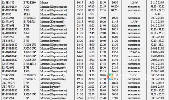 白俄罗斯明斯克国际机场2017年航班时刻表